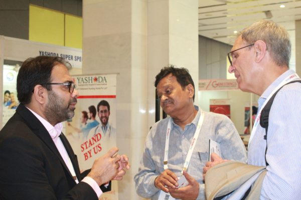 Dr. Amit Raj, SB Sinha and Jaanus Pikani discussing at InnoHEALTH 2019