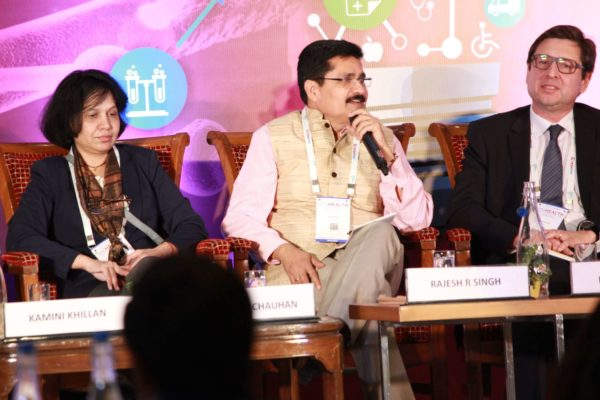 Dr. Sunita Chauhan, Rajesh R Singh & Filipe Assoreira at Session 3 InnoHEALTH 2019