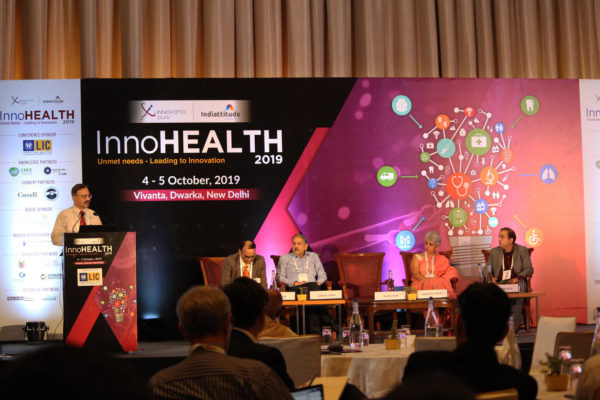 Lt General (Dr) Rajesh Pant, Dr. V K Singh, Karnal Singh, Dr Yasmin Ali Haque & Sachin Gaur at Inaugural session InnoHEALTH2019!