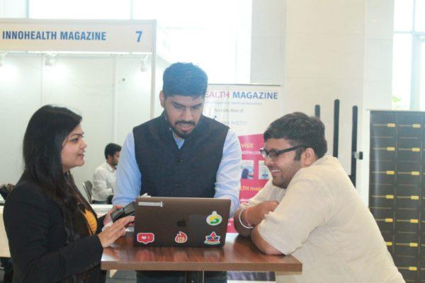 Parthvee Jain, Dhruv Singh and Ritesh Aggarwal at InnoHEALTH 2019