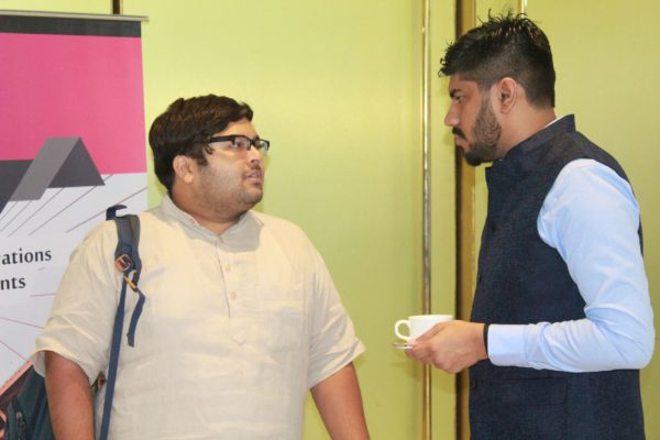 Ritesh Aggarwal and Dhruv Singh discussing at InnoHEALTH 2019